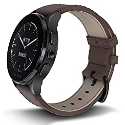 Vector Watch Luna Smartwatch-30 Day+ Autonomy, 5ATM, Notifications, Activity Tracking - Black Case/ Brown Leather-Casual
