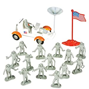 Lunar Rover with Astronauts Playset: 16 piece set with Moon Buggy, Flag, and 1.9 inch Figures (48mm)