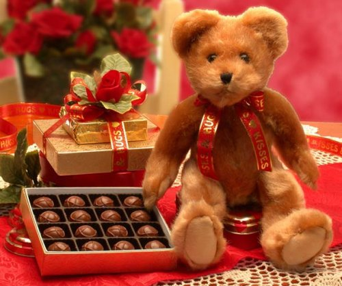 Valentine Hugs and Kisses Teddy Bear  Chocolates