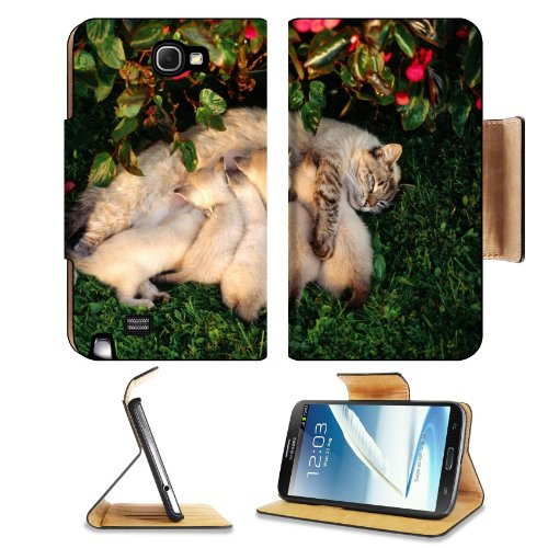 Mother Cat Kittens Drinking Milk Samsung Galaxy Note 2 N7100 Flip Case Stand Magnetic Cover Open Ports Customized Made To Order Support Ready Premium Deluxe Pu Leather 6 1/16 Inch (154Mm) X 3 5/16 Inch (84Mm) X 9/16 Inch (14Mm) Liil Note 2 Cover Professio front-682126