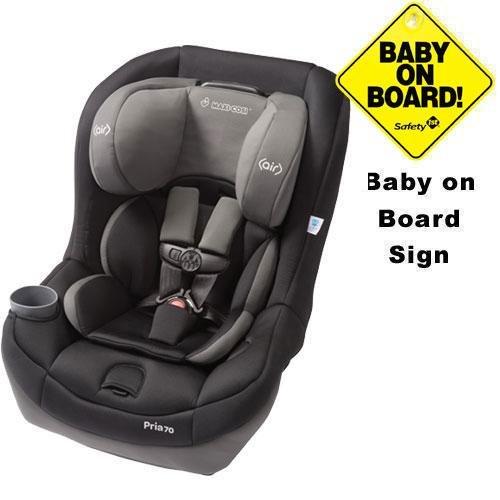Maxi-Cosi - Pria 70 Car Seat W Baby On Board Sign Total Black