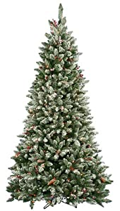 #!Cheap 6.5' Pre-Lit Frosted Edina Slim Artificial Christmas Tree - Clear Lights