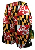 Mesh Lax Performance Shorts Maryland Flag Red Gold Black White
