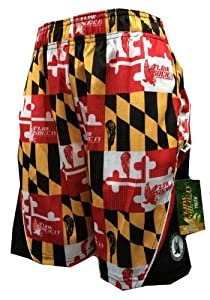 Mesh Lax Performance Shorts Maryland Flag Red Gold Black White by Flow Society Lacrosse