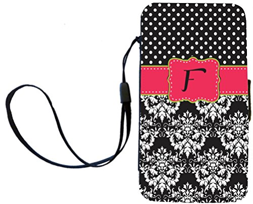 """Rikki Knighttm Rikki Knight Initial """"F"""" Pink Green Black Damask Dots Monogrammed Galaxy S4 Pu Leather Wallet Type Flip Case With Magnetic Flap And Wristlet For Samsung Galaxy S4 I9500 front-632597"""