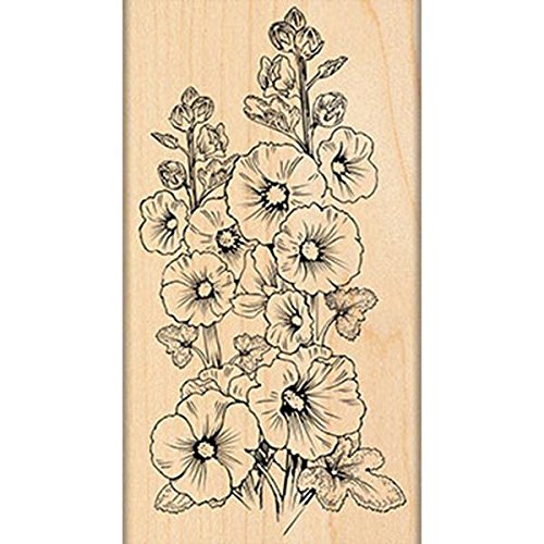 penny-black-mounted-rubber-stamp-275-inch-x-5-inch-hollyhocks