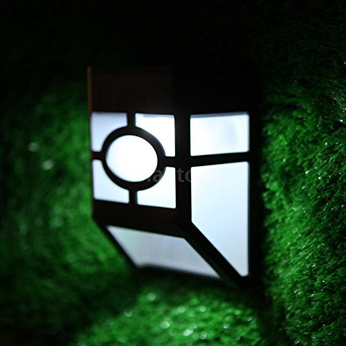 Solar Power Panel Sound & Light Sensor LED Lamp Mounted for Fence Walls Stairway