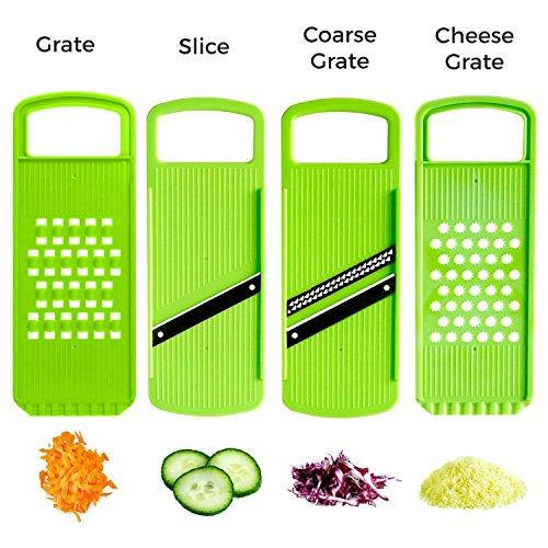 Multi-Fonctionnel 4-en-1 Mandoline Slicer-Lames en Acier Inoxydable-Découpe Facile Oignon Légumes Concombre Fruits et Fromage en Tranches avec Récipient Alimentaire