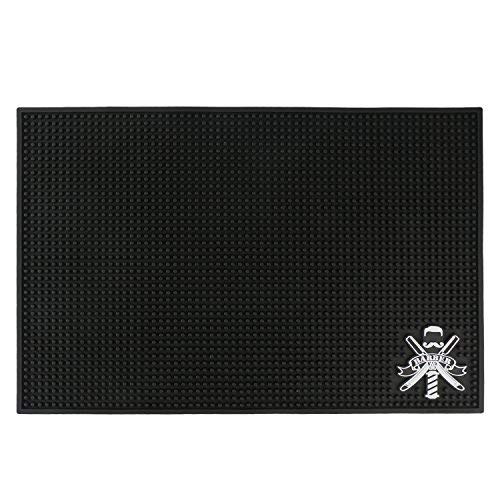 Barber Mats, Segbeauty 11.8 x17.5 Nonslip Flexible PVC Counter Mat for Clippers, Bar Sevice Mat, Barber Shop Work Station Pads, Professional Beauty Salon Tools for Hairstylists (Color: Black, Tamaño: Barber Mat)