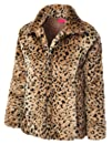 MBJ Womens Loose Faux Fur Leopard 34 Sleeve Coat Jacket With Belt