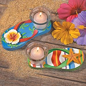Resin Luau Flip Flop Tealight Holders - Party Decorations & Candles & Votives