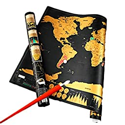 Kamsay Scratch Off Deluxe Map of the World Large +BONUS Scratch Pen ( Black & Gold 32.5\