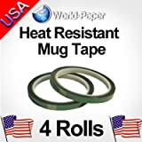 Heat Resistant High Temperature Adhesive Tape Dye Sublimation Mug Print 3/8x 36y 4 Rolls (Green)