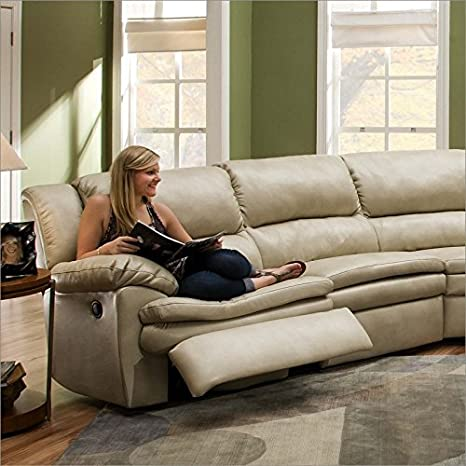 Simmons Upholstery 50881 Editor Wheat Bonded Leather LAF Double Motion Sofa