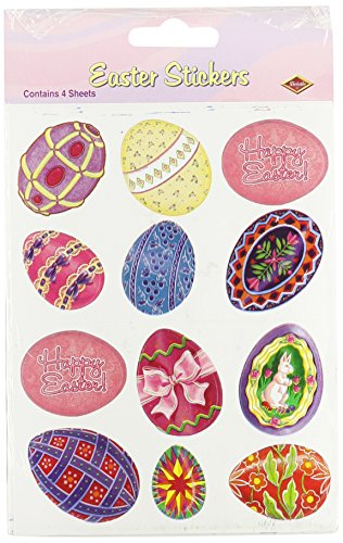 Beistle 44001 4-Pack Easter Egg Stickers Sheet, 4-3/4 by 7-1/2-Inch Sheet