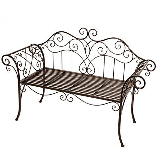 2-Sitzer Gartenbank Metall mit Verzierungen Rost-Optik Eisenbank Parkbank Gartenmöbel NEU bestellen