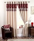 LUXURY MODERN CURTAINS Faux Silk Chenille Eyelet Ring Top Fully Lined Curtain Red ( claret wine cream beige ) Curtain Pair 90