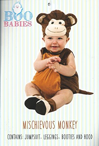 Boo Babies Halloween Costume Mischievous Monkey Brown Sz 9-18 Months 4 Pieces