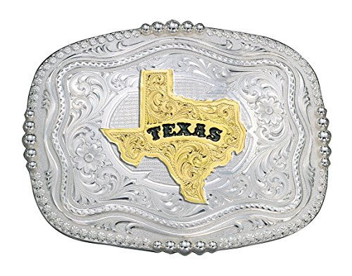 """Montana Silversmiths Rounded Square Silver Western Belt Buckle w/ Texas State - Silver/gold - 3 1/2"""" X 2 3/4"""""""