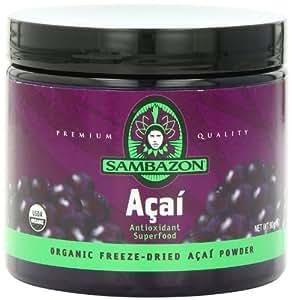 SAMBAZON Organic Freeze-Dried Acai Powder, Antioxidant Superfood, 90-Gram Jar