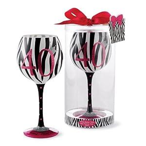 Click to buy 40th Birthday Zebra Stripe Wine Glassfrom Amazon!