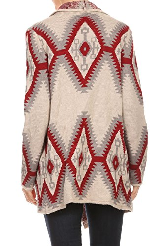 ReneeC. Women's Aztec Print Open Front Winter Fashion Cardigan Sweater (X-Large, WINE)
