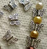 Beading Station 30-Piece Tibetan Silver Butterfly Spacer Charm Beads, 10mm