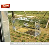 Idea Up Large Window Crystal Clear Bird Feeder 100%See Through Easy To Install Removable Feed Tray