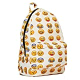 New QQ Printing Emoji Backpack Canvas Travel Satchel Cute Gril School...