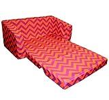 Newco Kids Chevron Flip Sofa, Purple and Orange