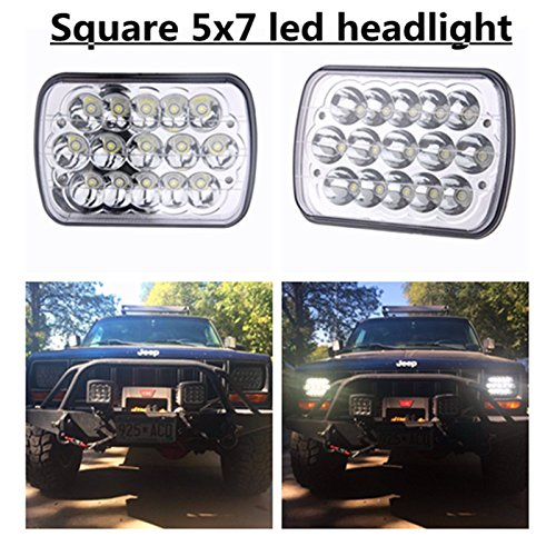 2-Pcs-5-x-7-Rectangular-LED-Headlights-for-Jeep-Wrangler-YJ-Cherokee-XJ-Toyota-PickupTrucks-4X4-Offroad-Headlamp-Replacement-H6054-H5054-H6054LL-69822-6052-6053
