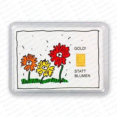 Goldbarren 1g 1 Gramm Motivbox Statt Blumen + Zusatzzertifikat von Securina24®