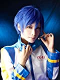 COSPLAZA Cosplay Wigs short blue Halloween Party Full Hair with Free Cap Vocaloid Kaito Free Wig Net