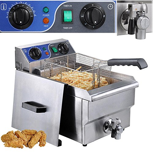 Commercial Professional Electric 10L Deep Fryer Timer and Drain Stainless Steel French Fry Restaurant Kitchen