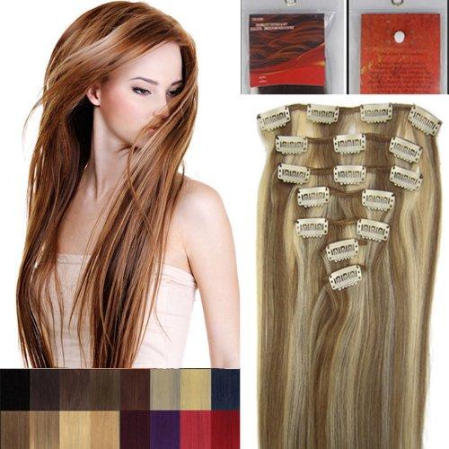 50,8 cm 7 Clip dans Remy extensions de cheveux humains Couleur 12/613 brun clair mélangé avec Blond Clair en Salon de beauté femme Accessoires 70 g avec clips chaque lot