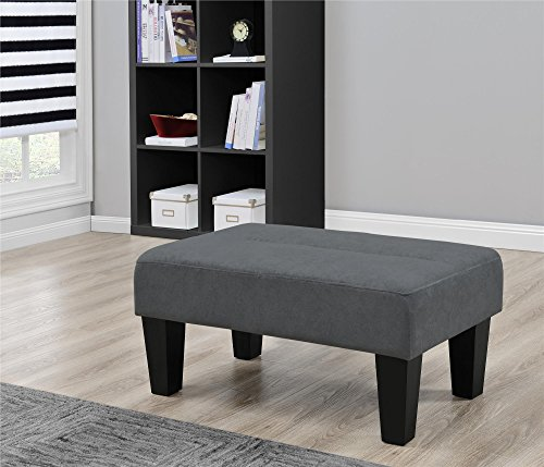 Modern Minimalist Sturdy Kebo Ottoman, Upholstered in Rich Microfiber, Perfect Footrest, Coffee Table or Extra Seating ... (Charcoal) (Convertible Coffee Table Black compare prices)