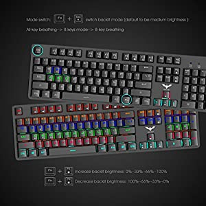 Mechanical Keyboard, HAVIT LED Backlit Wired Gaming Keyboard {US Layout} with Blue Switches, 104 Keys, Black (KB366L)