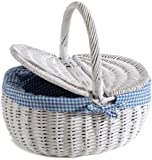 Nantucket Bike Basket CompanySteps Beach Collection Picnic Bicycle Basket with Quick Release (White)