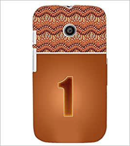 PrintDhaba Numerology Number 1 D-3633 Back Case Cover for MOTOROLA MOTO E (Multi-Coloured)