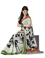 Prafful Gorgette Printed Saree With Unstitched Blouse - B00KNUQ6OG