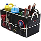 """EPAuto Collapsible Car Trunk Organizer, Foldable Cargo Storage Container with Rigid Plates and 8 Side Pockets for Car Truck or SUV, 24.75"""" x 12.75"""" x 13.4"""" Black"""