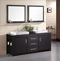 Hot Sale Design Element DEC083D Washington 72-Inch Espresso Finish Double Sink Vanity Set