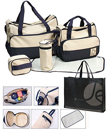 5 Piece Set Diaper Bag with 2 Inner Bags and Bonus and Bonus Reusable Tote Bag - 1