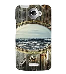 PrintVisa Window Sea Wooden Design 3D Hard Polycarbonate Designer Back Case Cover for HTC One X