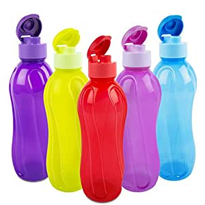 Cello Aqua Flip Polypropylene Bottle Set, 1 Litre, 5-Pieces, Multicolour