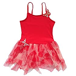 BHL Girls Dance Dress 3-8 Years Butterfly (5-6, Red)