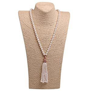 Romantic Time long Tassels White Bead Pearl Link Tiger Pendant Necklace (white)