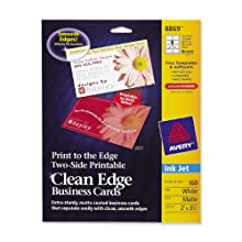 Avery Clean Edge Business Cards for Inkjet Printers, Matte, White, Pack of 160 (08869)