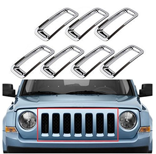 FMtoppeak The Silver Circle In The Net Off The Grille Net Car Modification Accessories Decor Rings Covesr Guards Protectors Trims for 2007-2016 Jeep Patriot (2014 Jeep Patriot Grill Insert compare prices)