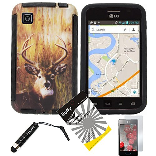 3 items Combo: ITUFFY (TM) LCD Screen Protector Film + Mini Stylus Pen + Design Wrap-Up Cover Faceplate Skin Phone Case for LG Optimus Dynamic II LG39C L39C (Net 10, StraightTalk, Tracfone) (Deer - Black) (Lg Optimus Dynamic Ii Covers compare prices)